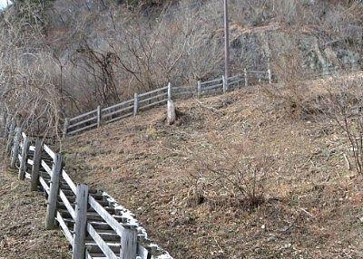 古釜沢・古釜の滝・末広池や楯岩展望台への階段の様子