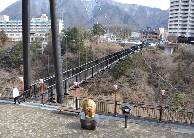 楯岩から見た鬼怒楯岩大吊橋