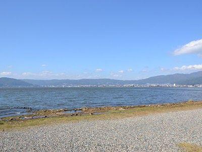 諏訪湖間欠泉センターから見た諏訪湖の景色