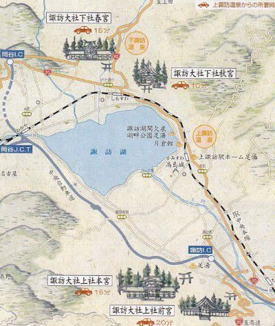 上諏訪温泉から諏訪大社マップ