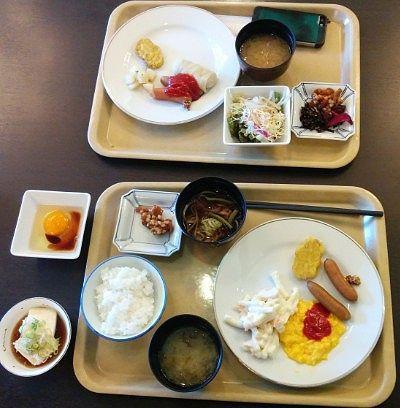 朝食バイキングでの朝食