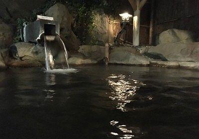 夜の水湖天の湯露天風呂