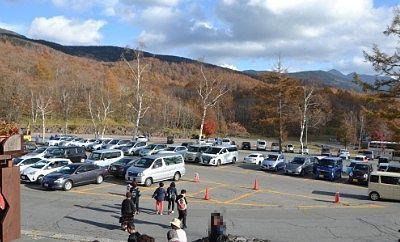 北八ヶ岳ロープウェイ駐車場の様子