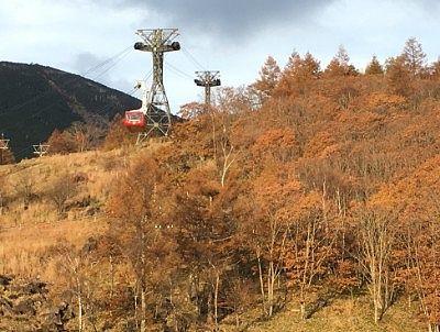 紅葉の中の北八ヶ岳ロープウェイ