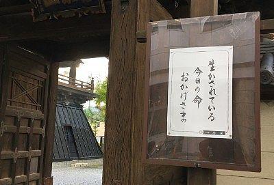 浄林寺山門の張り紙