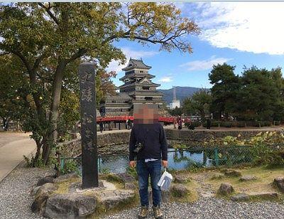 松本城公園での記念撮影