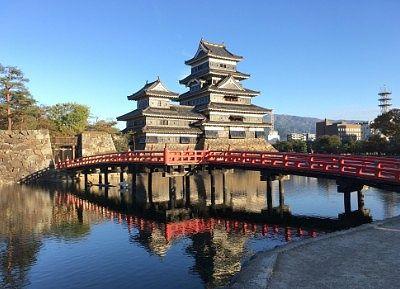 埋橋越しの松本城