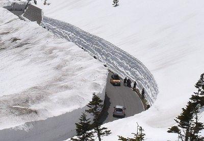 上空から見た雪の回廊の様子