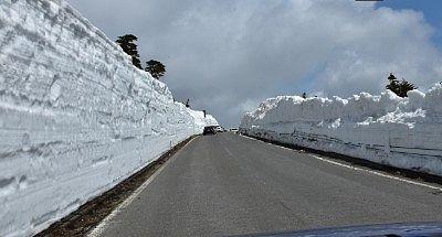 渋峠近くの雪壁