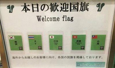 宿泊した客の出身国の旗