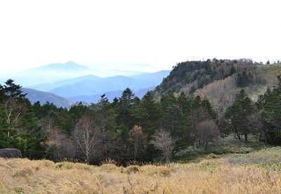 遠くn山々が見える道