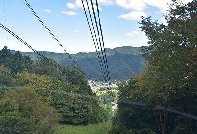 山頂駅付近から見たゴンドラからの景色