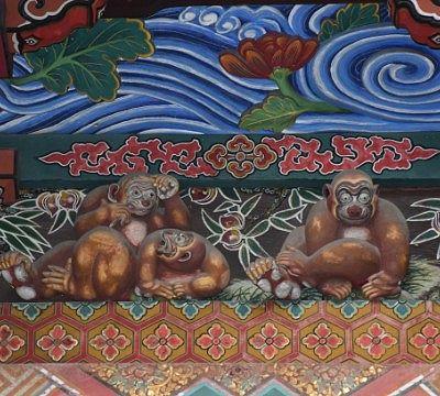 秩父神社のお元気三猿