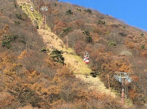榛名富士と榛名山ロープウェイの景色