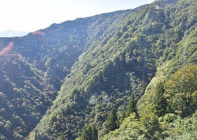 ゴンドラ横の山肌の景色