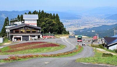 コキアとイタリアンレストランと山頂駅