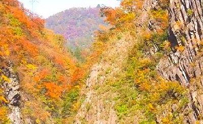 清津峡渓谷の紅葉