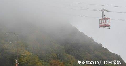 霧の中へ進むゴンドラ