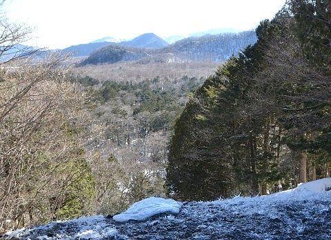 冬の湯滝上からの戦場ヶ原の景色