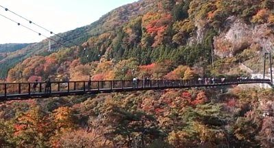 紅葉の鬼怒楯岩大吊橋