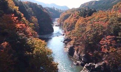 鬼怒楯岩大吊橋から見た紅葉の景色
