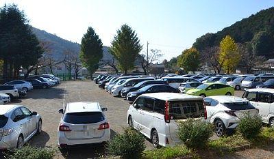 紅葉祭り臨時駐車場が満車の様子