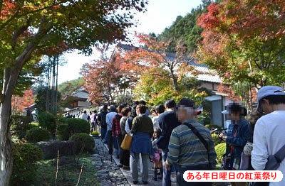 床紅葉に並ぶ行列の様子
