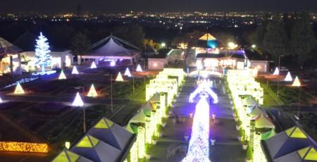 パークタワー展望台から見たイルミネーションと夜景