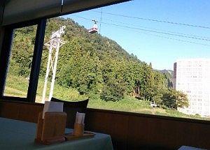 窓からゴンドラが見える景色