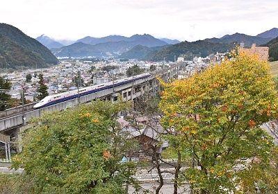 新幹線が見えた窓からの景色