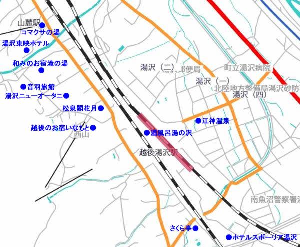 越後湯沢駅周辺日帰り温泉マップ