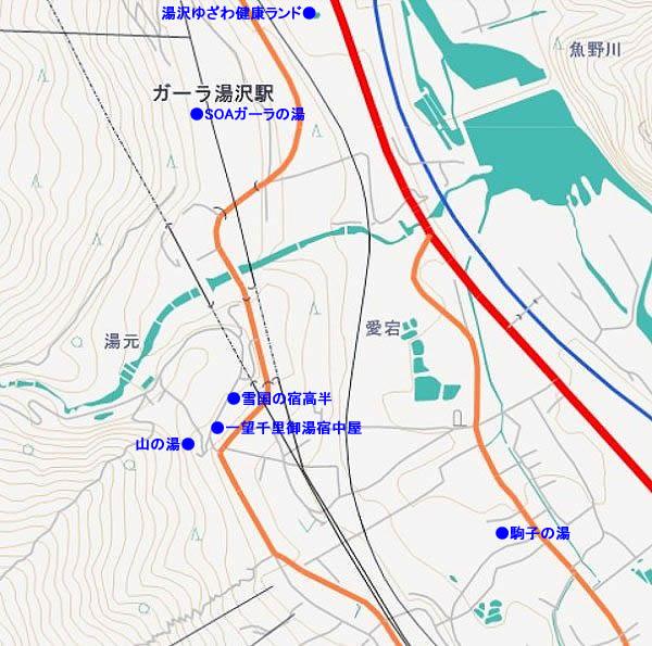 ガーラ湯沢駅周辺日帰り温泉マップ