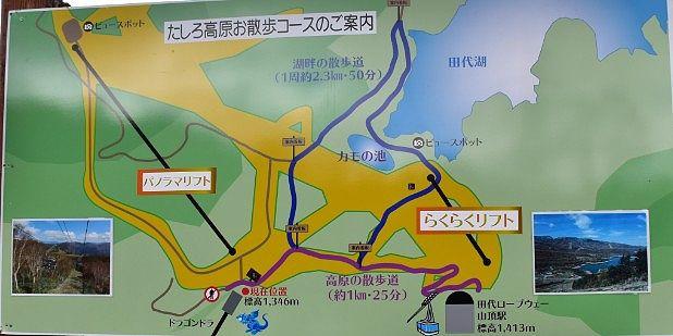 田代高原お散歩コースの地図