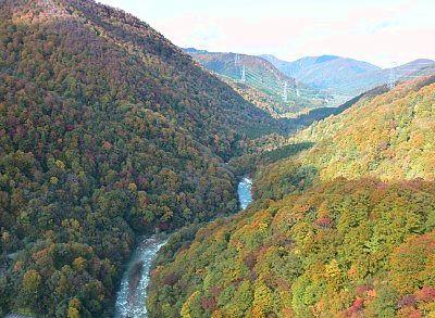 田代ロープウェーの中から見た紅葉の景色