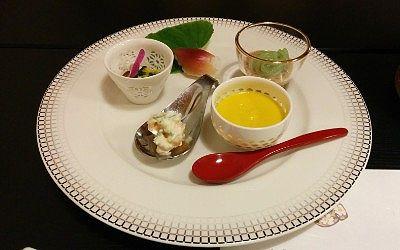 カボチャスープ、ミョウガ寿司、糸蒟蒻ゴマダレなど