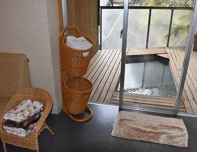 足湯とタオルの用意