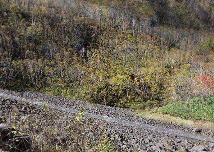 上から見た野反ダム壁