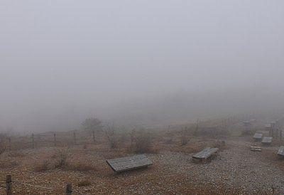 野反湖での霧