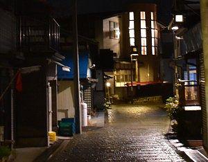 夜の湯宿温泉街の石畳