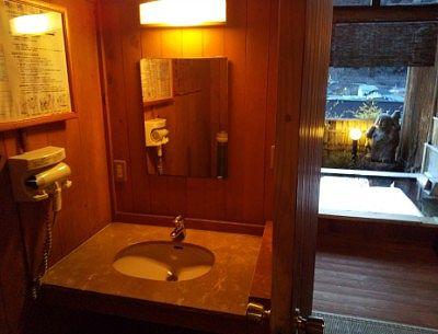 露天風呂の洗面台