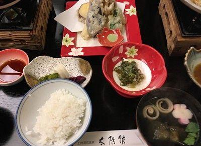 ご飯、天ぷら、お吸い物