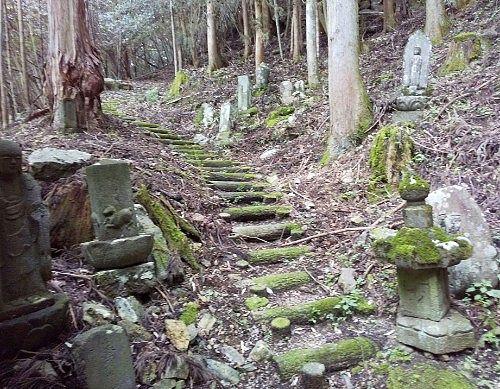 石仏に囲まれた参道
