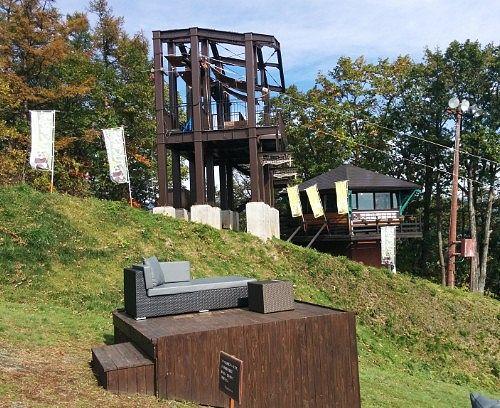 天空カフェの席と「BanZip TENGU(バンジップテング)」乗り場