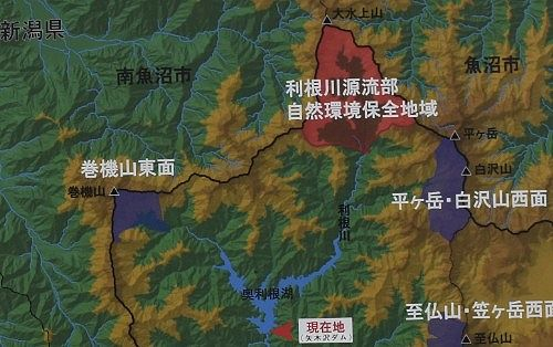 奥利根湖(矢木沢ダム)の位置