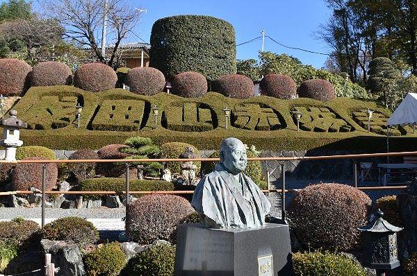 成田山赤城寺の文字が浮かぶ植木
