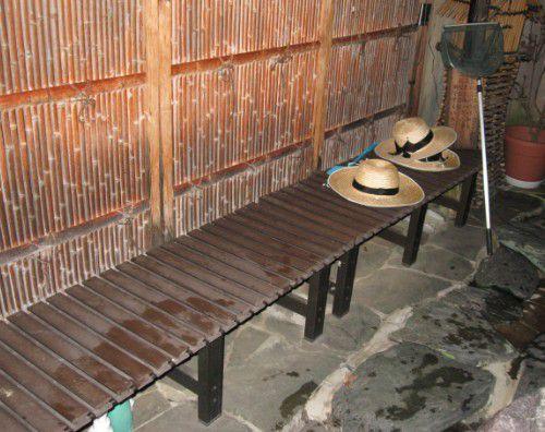 混浴露天風呂のベンチは喫煙可能