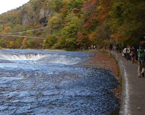 吹割の滝が見られる遊歩道の様子