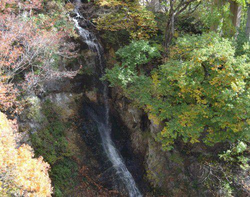 吹割大橋からの紅葉の景色