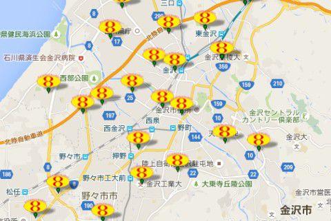 8番ラーメン金沢マップ