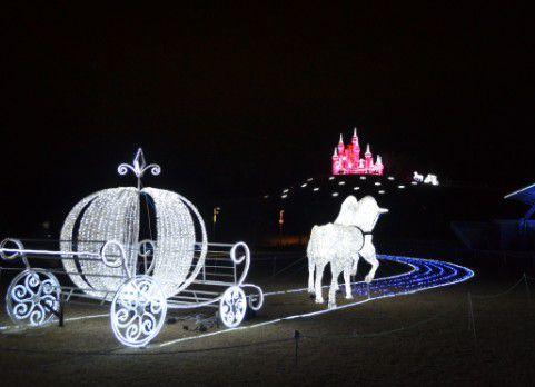 馬車とシンデレラ城のイルミネーション
